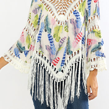 White Feather Print Fringed Openwork Blouse
