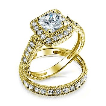 Princess AAA CZ Engagement Wedding Ring Set 14K Plate Sterling Silver
