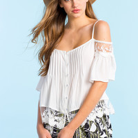 Love Lace Cold Shoulder Blouse