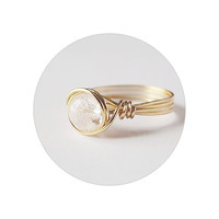 Frozen Quartz Brass Ring - unique rings
