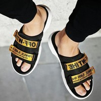 Off White New Fashion More Letters Two Line Men Slippers Black+Gold