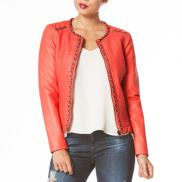 Leatherette jacket with quilted front & chain trim.