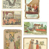 8  French Advertising Announcement, Chromos, Suchard Vintage Store Rouen, History, Collectible Trading Card, Antique Illustration