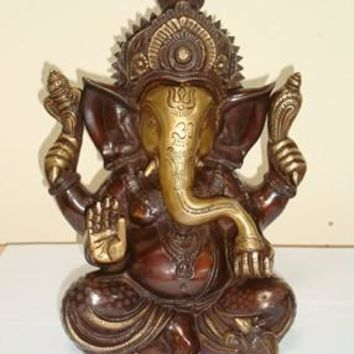 Solid Brass Sitting Ganesha Statue From India 12 Inch