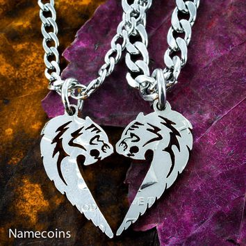 Tiger and Tigress His and Hers Couples Necklaces, Animals making a heart set, Hand Cut Coin
