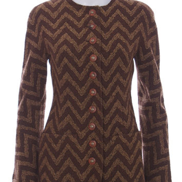 Valentino Boutique Brown Wool Chevron Tweed Jacket Blazer Size 8