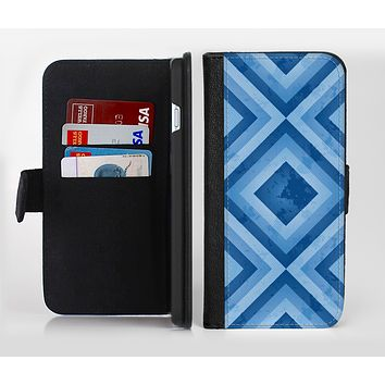 The Blue Diamond Pattern Ink-Fuzed Leather Folding Wallet Credit-Card Case for the Apple iPhone 6/6s, 6/6s Plus, 5/5s and 5c