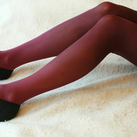 Red brown dyed tights size M style 3