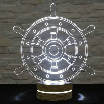 Ship Wheel Shape, 3D LED Lamp, Office Decor, Desk Lamp, Home Decor, Plexiglass Lamp, Decorative Lamp, Nursery Light, Acrylic Night Light