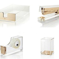 Bundle 4 Items Kate Spade New York Acrylic Desk Set