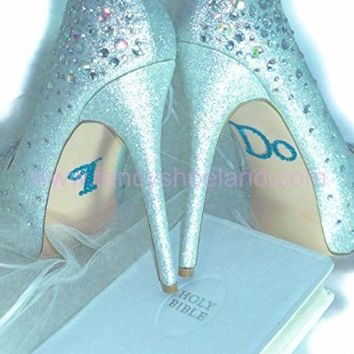 I Do Shoe Stickers Wedding Rhinestone Blue Crystals - decal Wedding I Do Blue shoe stickers - applique for Brides for The Something Blue on Wedding Shoes bridal Shower gifts as a Wedding decoration.