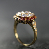 Antique Ruby & Diamond Cluster Ring by Ruby Gray's | Ruby Gray's