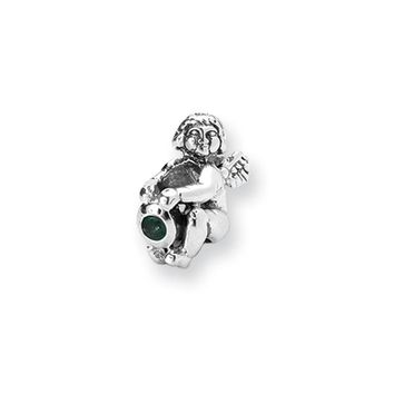 Sterling Silver May CZ Birthstone, Angel Bead Charm