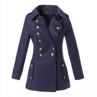 Army Style Double Button Long Sleeves Turn-down Collar Wool Coat