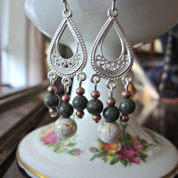 Green Jasper and Cracked Gold Dangle Earrings by EudaimoniaJewelry