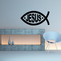 Wall Decal Vinyl Sticker Room Decor Tattoo Jesus Fish Religion Symbol Sign 1370