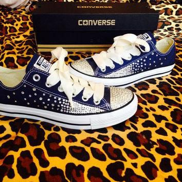 Full Rhinestoned Ombr¨¦ Converse with Ribbon Laces