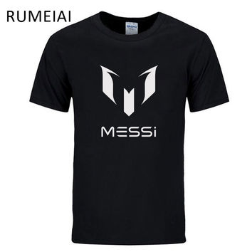 RUMEIAI 2017 summer brand 100% cotton Barcelona MESSI Men t-shirt tops Man casual short sleeve t shirts Size S M L XL XXL