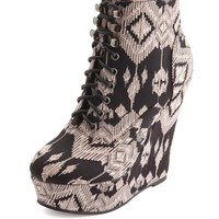 TRIBAL PLATFORM LACE-UP WEDGE BOOTIE