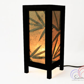 Thai Vintage Lamps Mulberry Paper Table Lantern Bamboo Style Bedroom Decoration 11 inch high.