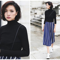 womens sweaters in black,white,navy,pullovers,turtle neck,minimalist,elastic,made from wool,comfortable,for autumn,winter.--E0310