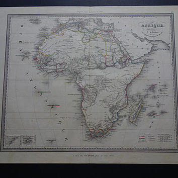 """AFRICA old map of Africa 1840 Large original antique hand-colored print of the African continent vintage big maps 14x17"""" poster 1837 date"""