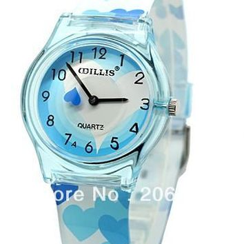 New WILLIS Heart-shaped Children watches Wrist Watch (Pink.blue)+free shipping