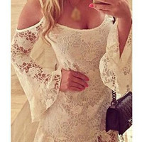 Sexy Lace Crochet Flower Spaghetti Strap Dress