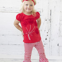 Ruffle Pants Chevron Red - Extended Sizes!