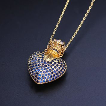 Thanksgiving gift  Vintage Love heart Shape full cubic zirconia Pendant Necklaces fashion jewelry  Bijoux for women gift PGY026