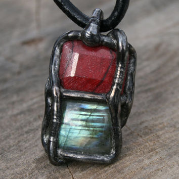 MEN Necklace, Raw Necklace, ruby NECKLACE, fantasy necklace, men pendant, LABRADORITE necklace, goth necklace, gemstone necklace