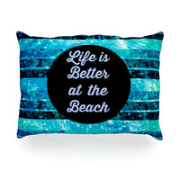 "Ebi Emporium ""Life is Better at the Beach"" Blue Aqua Oblong Pillow"