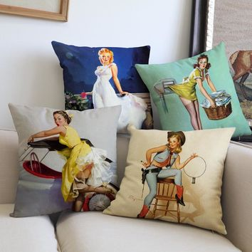 Europe and United States retro style home Decorative Pillows cojines linen Personality sexy girl beauty throw Pillows Cushion