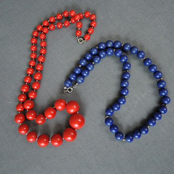 Vintage Red & Blue Bead Necklaces, 1980s Plastic Necklace, Summer, Patriotic, 18 and 23 inches