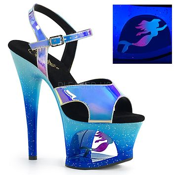 "Moon 711MER Blue Mermaid Cutout Platform - 7"" High Heel Shoe"