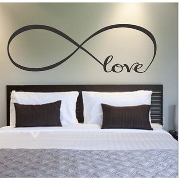 LOVESPACE Personalized Infinity Symbol LOVE Bedroom Wall Decal Quotes Vinyl Wall Sticker Home Decor