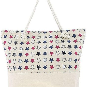 Patriotic star pattern large tote bag