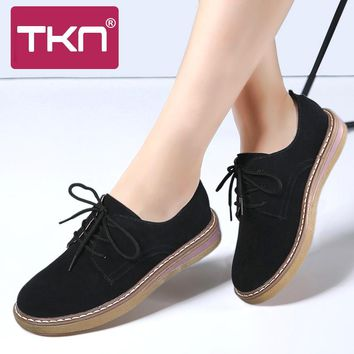 TKN 2017 Autumn Women oxfords Boat Shoes Leather Suede flats shoes women lace up round toe Ladies Casual Flats moccasins 989