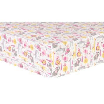 Pink Animal Safari Deluxe Flannel Fitted Crib Sheet