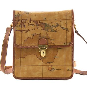 Authentic Alviero Martini Classe world map brown shoulder bag