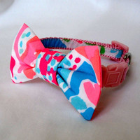 Dog Collar with Bow Made from Lilly Pulitzer Lets Cha Cha Fabric: XSmall