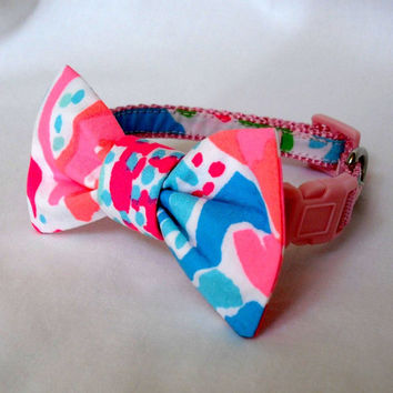 83e6c1901131de Dog Collar with Bow Made from Lilly Pulitzer Lets Cha Cha Fabric