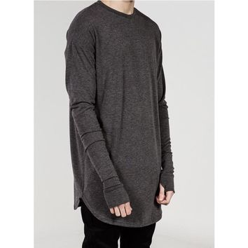Men Long Sleeve Oversize Thumb Hole - Finger Hole Longline T Shirt