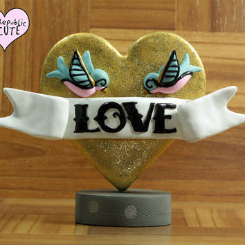 Gold Heart Tattoo Inspired Wedding Cake Topper - glitter - love -  metallic - offbeat wedding decoration