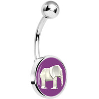 Purple White Origami Elephant Belly Ring | Body Candy Body Jewelry