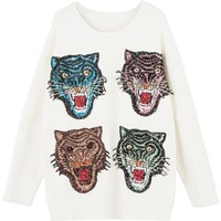 White Sequin Tiger Front Long Sleeve Knit Sweater