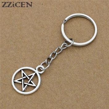 Vintage Silver Supernature Wicca Star Pentacle Pentagram Charm Pendant Keychain Gift Car Purse Key Chain Ring DIY Jewelry