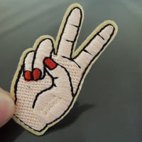 Iron on Patch - Finger Patch Feminist Finger with Red Nail Patches Fingernail Win Hand Patch Iron on Applique Embroidered Patch Sewing Patch