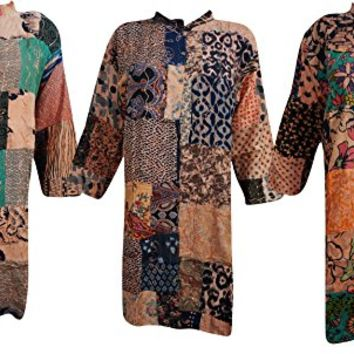 Mogul Interior Wholesale Lot Of 3 Womens Indian Tunic Button Down Patchwork Printed Bohemian Little Wing Top Blouse Shirt