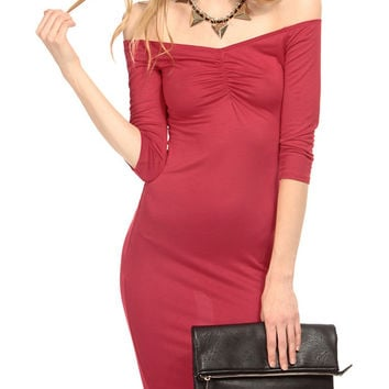 Red Decolette Neck Bodycon Dress